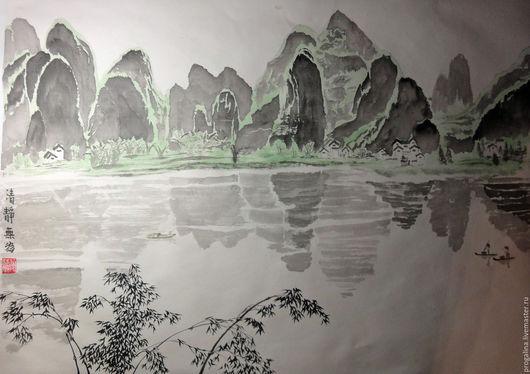 Пейзаж ручной работы. Ярмарка Мастеров - ручная работа. Купить Весенняя река. Handmade. Китайская живопись, горы, черный