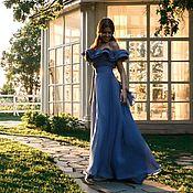 """Платья ручной работы. Ярмарка Мастеров - ручная работа """"Мелодия""""длиное платье в пол синего цвета с воланами из шифона. Handmade."""
