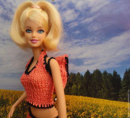 Одежда для кукол ручной работы. Ярмарка Мастеров - ручная работа. Купить Летний комплект для отдыха. Handmade. Коралловый, подарок