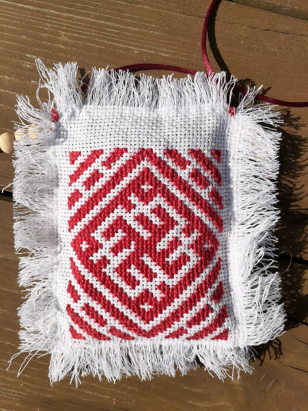 Небесный крест - Цветок папоротника - 2-х сторонняя обережная  подвесь, Народные украшения, Калуга, Фото №1