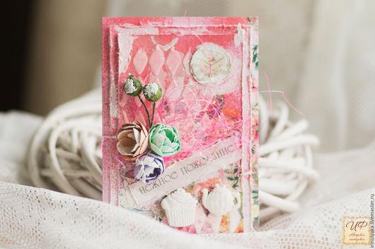 Персональные подарки ручной работы. Ярмарка Мастеров - ручная работа. Купить Открытка к 8 марта. Handmade. Розовый, открытка для девушки