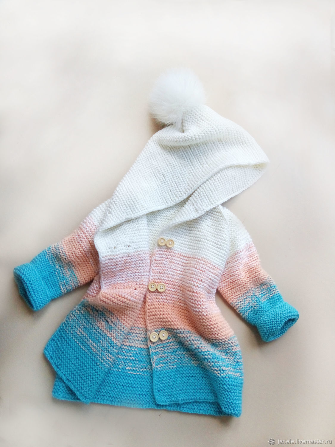 Clothes for Girls handmade. Livemaster - handmade. Buy Knitted cardigan coat for girls with a gradient.Spring