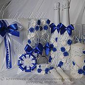 Свадебный салон ручной работы. Ярмарка Мастеров - ручная работа Комплект аксессуаров в бело- синей гамме. Handmade.