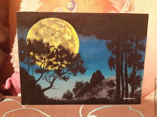 """Пейзаж ручной работы. Ярмарка Мастеров - ручная работа. Купить """"Отражение ночи"""". Handmade. Черный, ночь, картина с луной"""