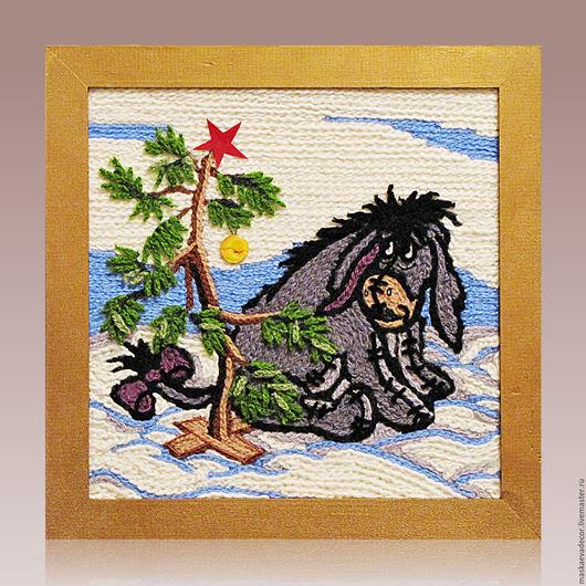 Пейзаж ручной работы. Ярмарка Мастеров - ручная работа. Купить Картина вязанная из пряжи Ослик и елочка! 30 х 30 см. Handmade.