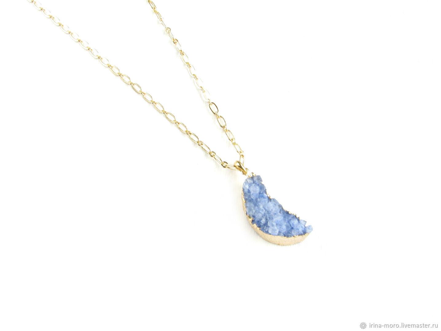 Blue pendant 'Month' Druze agate, pendant pendant on a chain, Pendants, Moscow,  Фото №1