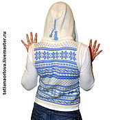 "Одежда handmade. Livemaster - original item Knitted White  blue autumn winter wool sleeveles""Scandinavian spring"". Handmade."