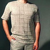 "Одежда handmade. Livemaster - original item 100% лён.Мужской джемпер ""КЛЕТКА"". Handmade."