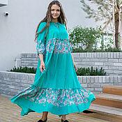 Одежда handmade. Livemaster - original item Viscose Maxi Dress Turquoise 3 Tiers. Handmade.