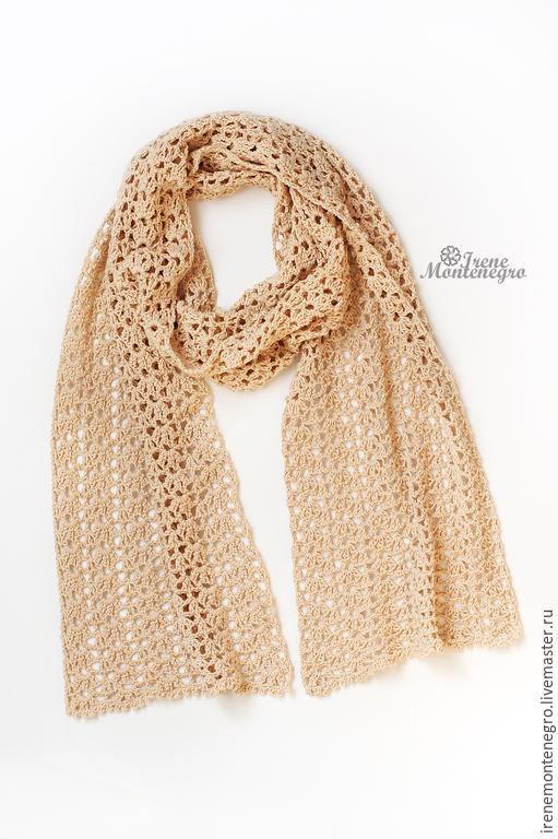 Шарфы и шарфики ручной работы. Ярмарка Мастеров - ручная работа. Купить ажурный шарф. Handmade. Бежевый, ажурный шарфик, воздушный