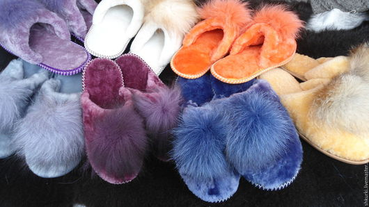 Обувь ручной работы. Ярмарка Мастеров - ручная работа. Купить Тапочки женские из натуральной овчины. Handmade. Тапочки, теплые тапочки