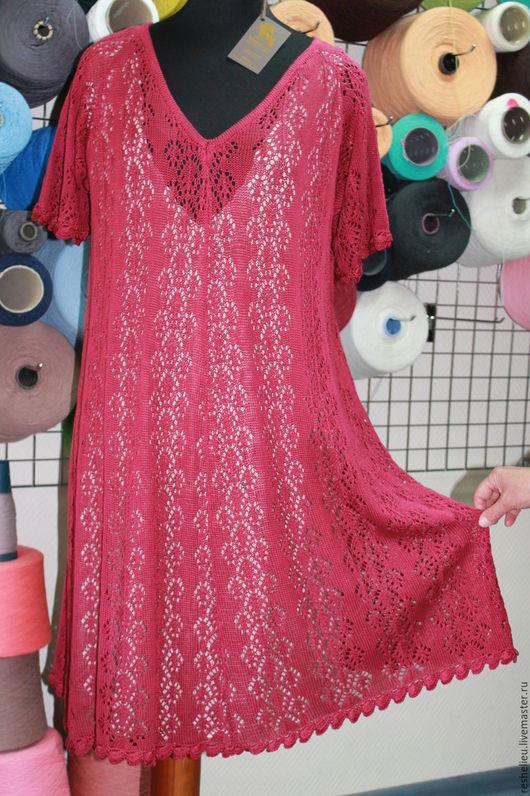 Платья ручной работы. Ярмарка Мастеров - ручная работа. Купить Платье #88 вязаное из 100% итальянского хлопка. Handmade. Бордовый