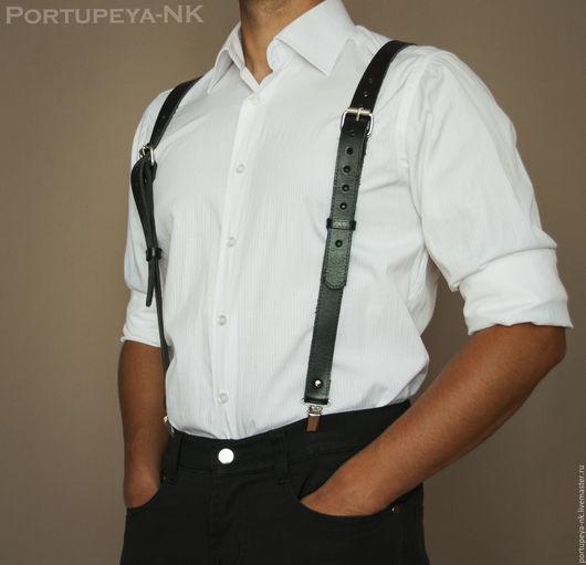 Пояса, ремни ручной работы. Ярмарка Мастеров - ручная работа. Купить Подтяжки мужские кожаные. Мод 2ПМ черн. Handmade.
