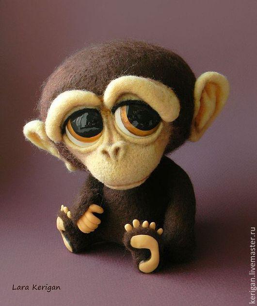 Игрушки животные, ручной работы. Ярмарка Мастеров - ручная работа. Купить Маленький обезьянин. Handmade. Коричневый, Глазки