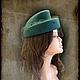 """Шляпы ручной работы. Ярмарка Мастеров - ручная работа. Купить """"Изумрудное ретро"""". Handmade. Болотный, шляпка с вуалью, фетр"""