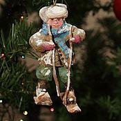 """Елочные игрушки ручной работы. Ярмарка Мастеров - ручная работа Новогодняя игрушка из ваты на ёлку""""Лыжник"""". Handmade."""