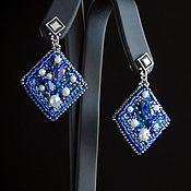 Украшения handmade. Livemaster - original item Blue color. Blue square earrings.. Handmade.
