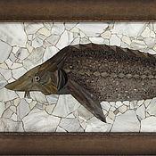 """Картины и панно ручной работы. Ярмарка Мастеров - ручная работа Подарок рыбаку, """"Осётр"""", картина-мозаика. Handmade."""