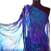 Аксессуары handmade. Livemaster - original item Scarf stole blue purple emerald silk pressed women`s. Handmade.