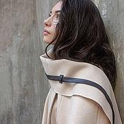Одежда ручной работы. Ярмарка Мастеров - ручная работа Дизайнерское пальто пончо / Бежевое пальто с шарфом. Handmade.