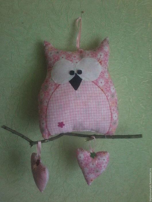 Детская ручной работы. Ярмарка Мастеров - ручная работа. Купить Сова на ветке, смешная, неидеальная.... Handmade. Розовый, игрушка, детская
