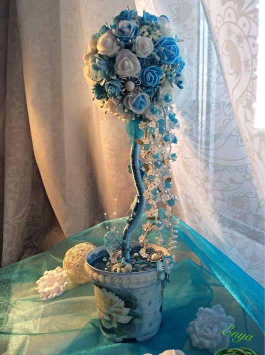 Топиарии ручной работы. Ярмарка Мастеров - ручная работа. Купить Небесный водопад. Handmade. Голубые розы, подарок на любой случай