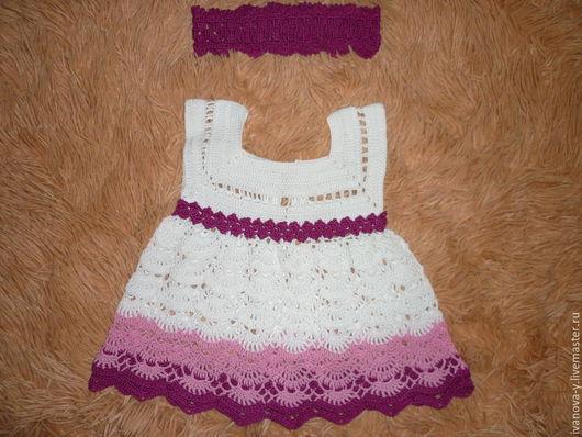 Одежда для девочек, ручной работы. Ярмарка Мастеров - ручная работа. Купить Платье для новорожденной девочки, в подарок повязка на головку. Handmade.