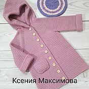 Работы для детей, handmade. Livemaster - original item knitted coat for girls cotton candy. Handmade.