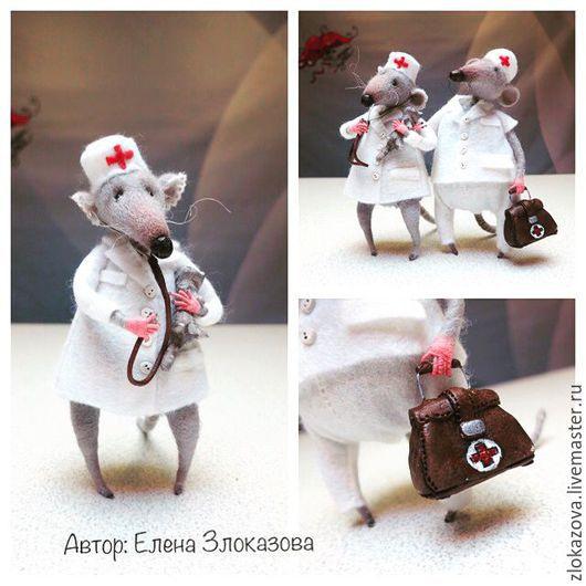 Куклы и игрушки ручной работы. Ярмарка Мастеров - ручная работа. Купить мышки в белых халатах. Handmade. Серый, врач, хомячки