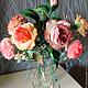 Цветы ручной работы. Ярмарка Мастеров - ручная работа. Купить Букет. Интерьерная композиция из шелковых роз. Handmade. Розовый
