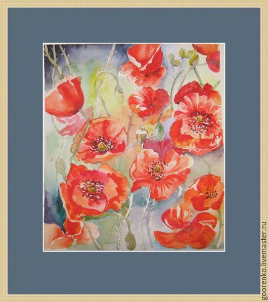 """Картины цветов ручной работы. Ярмарка Мастеров - ручная работа. Купить """"Маки"""". Handmade. Ярко-красный, акварель, украшение для интерьера"""