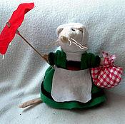 handmade. Livemaster - original item Becassine the little traveling mouse with her umbrella. Handmade.