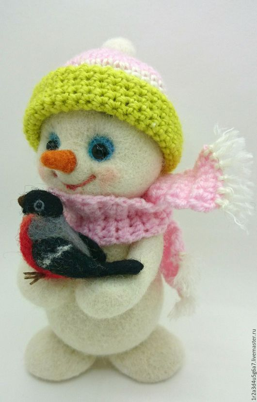 Новый год 2017 ручной работы. Ярмарка Мастеров - ручная работа. Купить Снеговичок со снегириком. Handmade. Снеговичок, сувениры и подарки