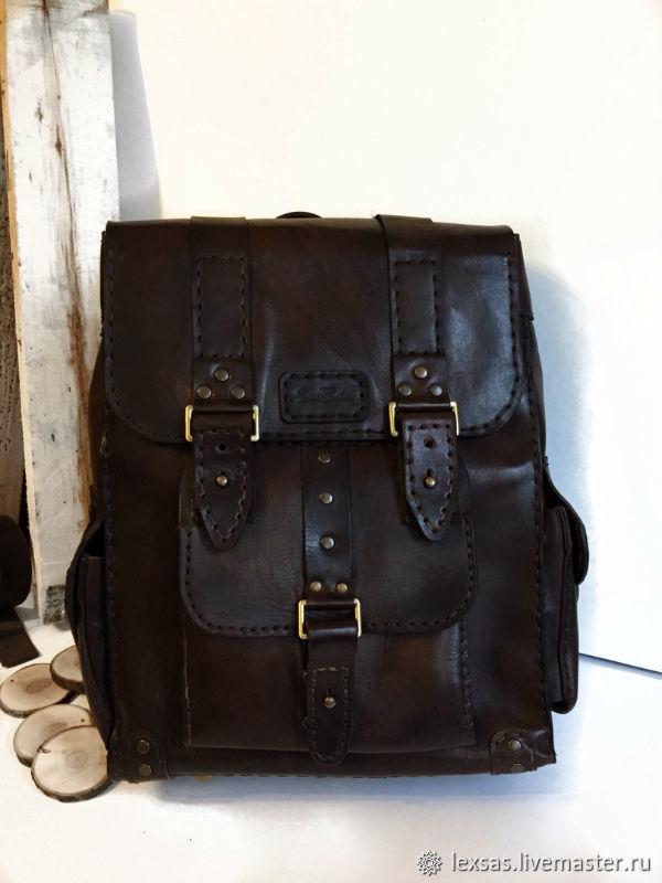 Рюкзаки ручной работы. Ярмарка Мастеров - ручная работа. Купить Мужской рюкзак-ранец из натуральной кожи. Handmade. Рюкзак кожаный