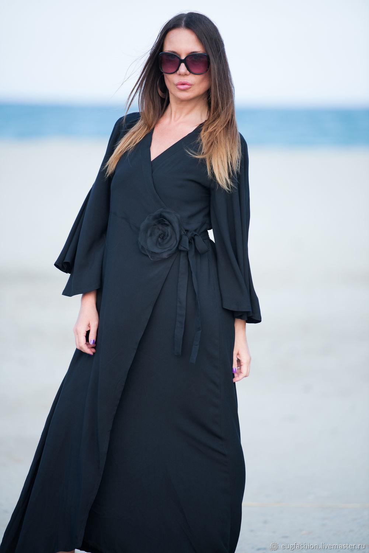 Длинное платье с запахом, Черное платье, Платье из хлопка, Летнее платье, Платье с длинным рукавом.
