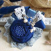 """Украшения ручной работы. Ярмарка Мастеров - ручная работа """"Синяя даль""""  бохо брошь, цветок из ткани. Handmade."""