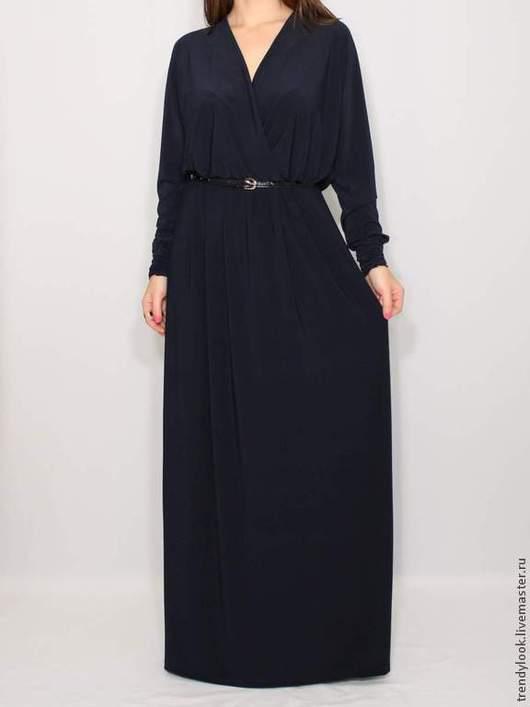 Платья ручной работы. Ярмарка Мастеров - ручная работа. Купить Темно-синее платье в пол, длинный рукав летучая мышь. Handmade.
