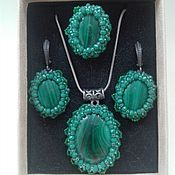 Украшения handmade. Livemaster - original item Set of Ring, earrings, pendant with malachite. Handmade.