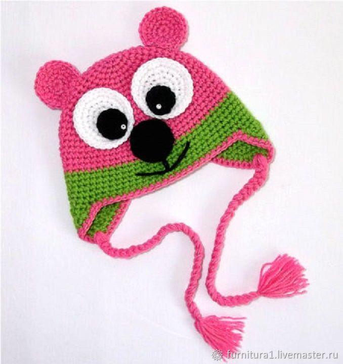 Одежда шапка мишка для девочки теплая вязаная зимняя розовая, Одежда, Москва,  Фото №1