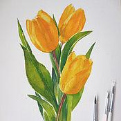 Картины и панно ручной работы. Ярмарка Мастеров - ручная работа акварель Желтые тюльпаны. Handmade.