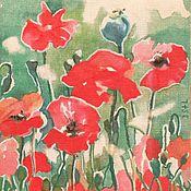Открытки handmade. Livemaster - original item Poppy field, fragment. Handmade.
