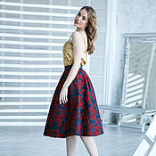 Одежда handmade. Livemaster - original item Jacquard skirt with red roses. Handmade.