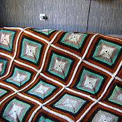 Для дома и интерьера ручной работы. Ярмарка Мастеров - ручная работа Плед из полушерсти Квадраты. Handmade.