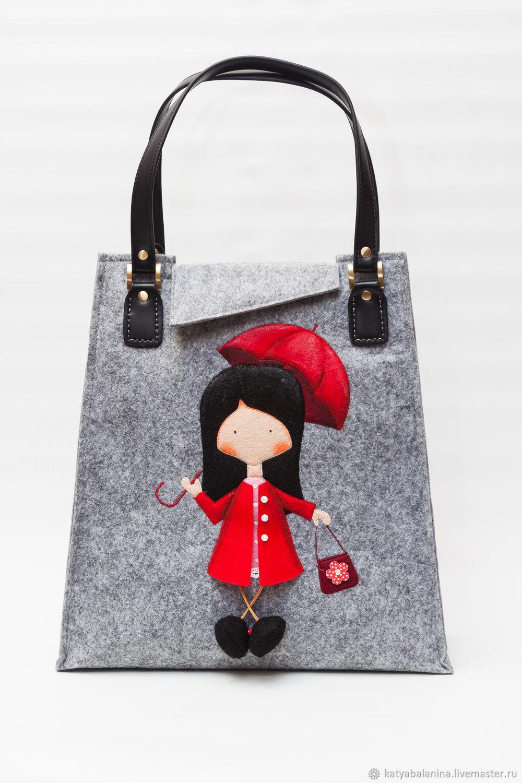 Войлочная женская зимняя сумка из фетра Девочка в красном, Классическая сумка, Муром,  Фото №1
