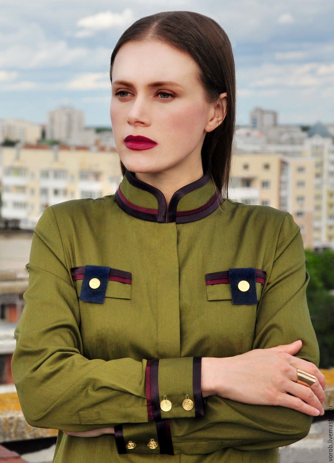 Women's shirt. Cotton shirt. Olive collor, Blouses, Moscow,  Фото №1
