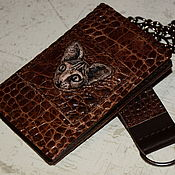 Сумки и аксессуары handmade. Livemaster - original item Brown wallet with chain - Sphinx cat. Handmade.