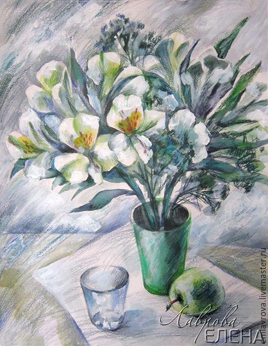 Картины цветов ручной работы. Ярмарка Мастеров - ручная работа. Купить Картина Первый снег. Handmade. Комбинированный, живопись в подарок
