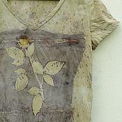 """Одежда ручной работы. Ярмарка Мастеров - ручная работа Футболка """"А роза..."""" , эко принт. Handmade."""