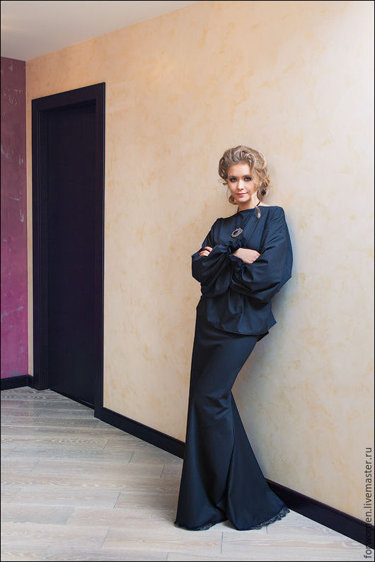 Юбки ручной работы. Ярмарка Мастеров - ручная работа. Купить Длинная юбка черная, вечерняя юбка, юбка в пол. Handmade.