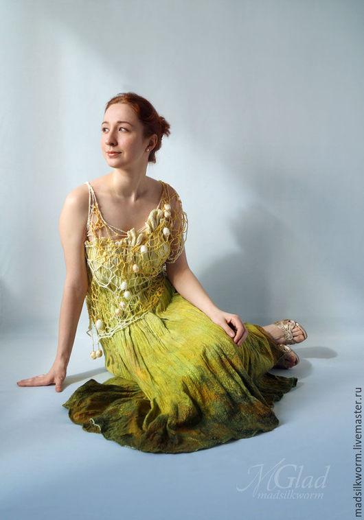 """Платья ручной работы. Ярмарка Мастеров - ручная работа. Купить """"Луговые травы"""" Платье летнее валяное нуно-фелт. Handmade."""